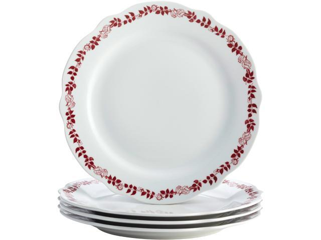 BONJOUR  54272  Dinnerware Yuletide Garland 4-Piece Porcelain Stoneware Fluted Dinner Plate Set, Print