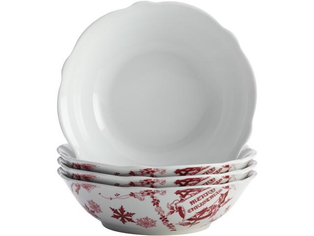 BONJOUR  54274  Dinnerware Yuletide Garland 4-Piece Porcelain Stoneware Fluted Cereal Bowl Set, Print