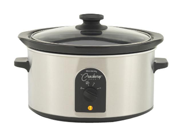 West Bend 84384 Stainless Steel 4 Qt. Oval Crockery Cooker