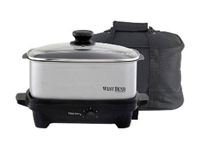 West Bend 84915 Chrome 5 Qt. 5 Qt. Oblong Slow Cooker with Tote