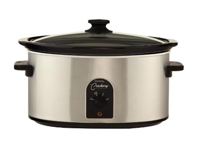 West Bend 85157 Stainless Steel 7 Qt. Oval Crockery Cooker