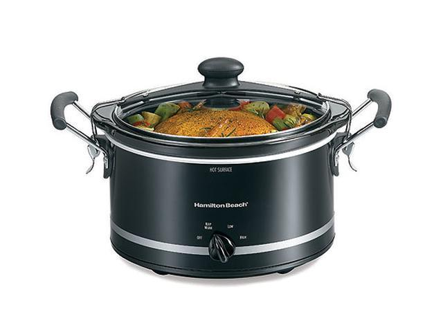 Hamilton Beach 33145 Black 4 Qt. Stay or Go Slow Cooker