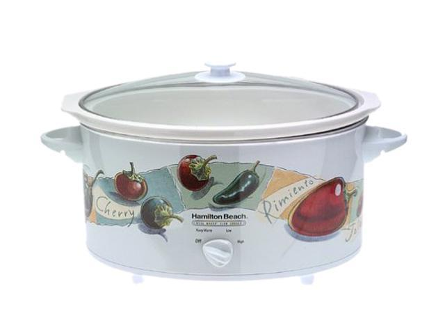 Hamilton Beach 33690BV White 7 Qt. Oval Slow Cooker With Travel Case