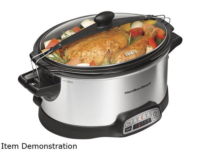 Hamilton Beach 33466 Stainless Steel Programmable Slow Cooker with Clips