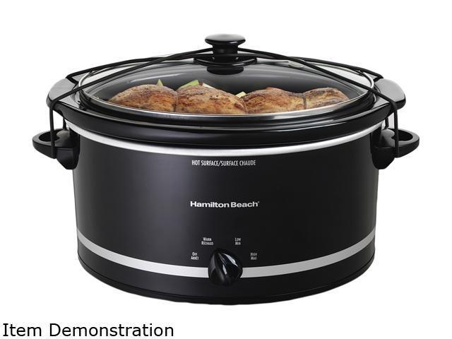 Hamilton Beach 33250 Black 5 Qt. 5 Quart Slow Cooker with 2 Cup Food Warmer