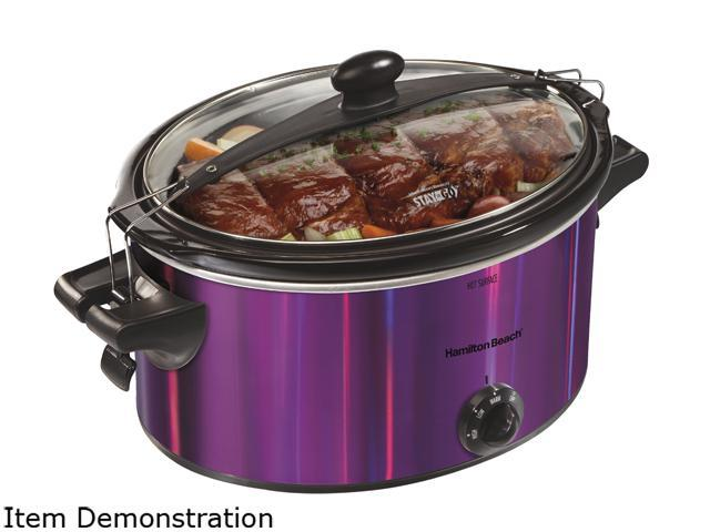Hamilton Beach 33454 Stay or Go 5 Quarts Shimmer Finish Slow Cooker, Purple