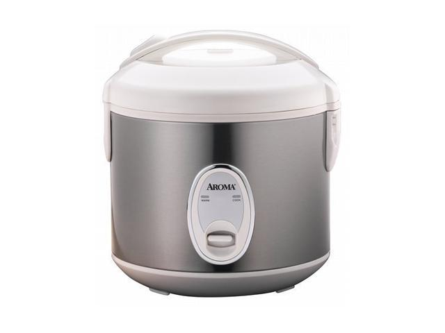 AROMA ARC-914SB Silver/White 4 Cups (Uncooked)/8 Cups (Cooked) Cool-Tough Rice Cooker