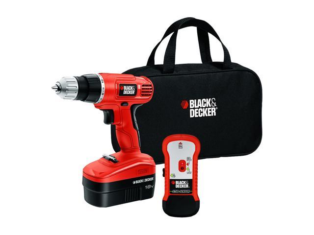 Black and Decker 18V Cordless Drill with Stud Sensor and Storage Bag