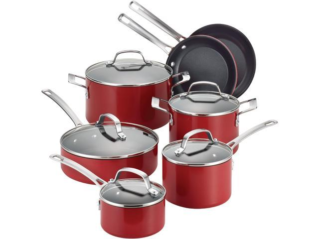 Circulon 14501 Genesis Aluminum Nonstick 12-Piece Cookware Set, Red