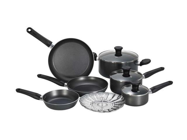 t fal initiatives nonstick inside and out 10 piece cookware set. Black Bedroom Furniture Sets. Home Design Ideas