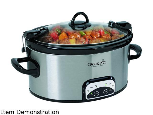 CROCK-POT SCCPVL605-S-A Stainless Steel 6 Qt. 6-Quart Programmable Cook and Carry Oval Slow Cooker