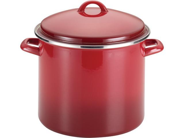 Rachael Ray  50497  Enamel on Steel 12-Quart Covered Stockpot, Red Gradient