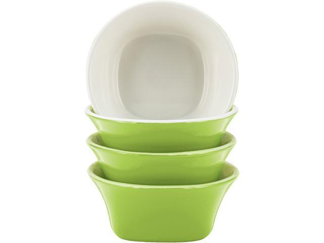 Rachael Ray  58778  Dinnerware Round & Square 4-Piece Stoneware Fruit Bowl Set, Green