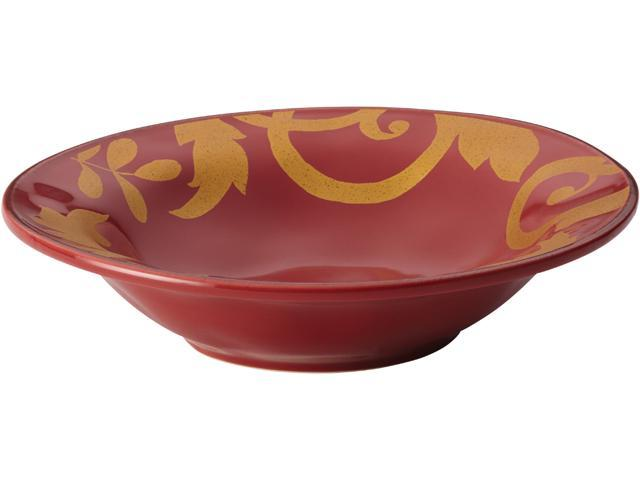 Rachael Ray  52796  Dinnerware Gold Scroll 10-Inch Round Serving Bowl, Cranberry Red
