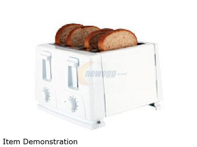 Continental Electric CE23451 White 4-Slice Toaster