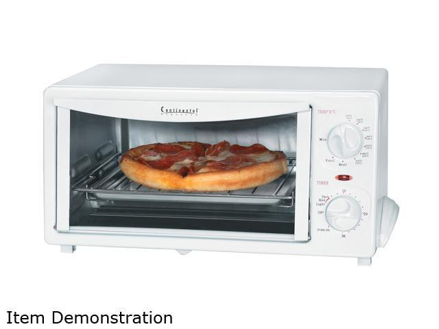 Continental Electric Ce23531 White 4 Slice Toaster Oven