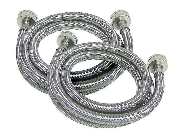 Petra WMSL5 2-PACK Braided Stainless Steel Washing Machine Connectors with Elbow (5 ft, 2 pk)