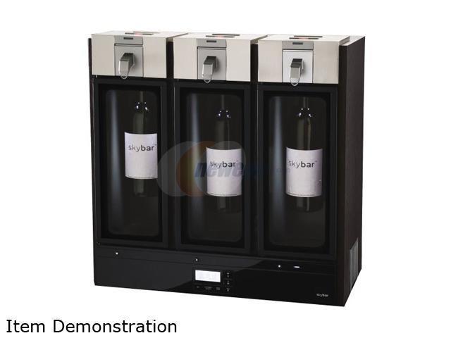 Skybar WP1100-000-000 Wine Preservation System- 3 Chamber (Black Wood Finish) Black