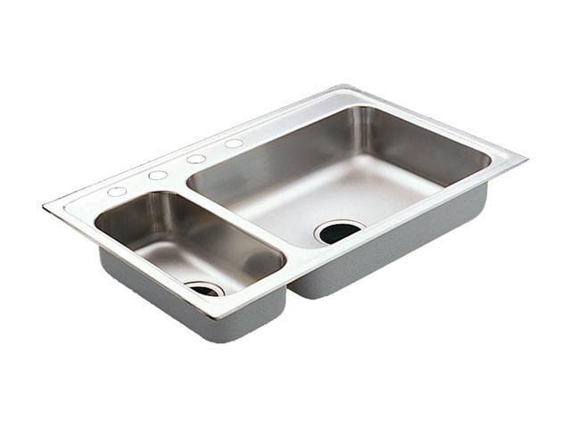 22823 Excalibur Stainless steel 22 gauge double bowl drop in sink