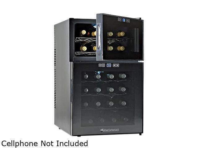 Wine Enthusiast 272 03 24 24-Bottle Silent 24 Bottle Dual Zone Touchscreen Wine Refrigerator Black