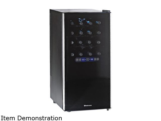 Wine Enthusiast 272 03 32 32-Bottle Silent 32 Bottle Dual Zone Touchscreen Wine Refrigerator Black