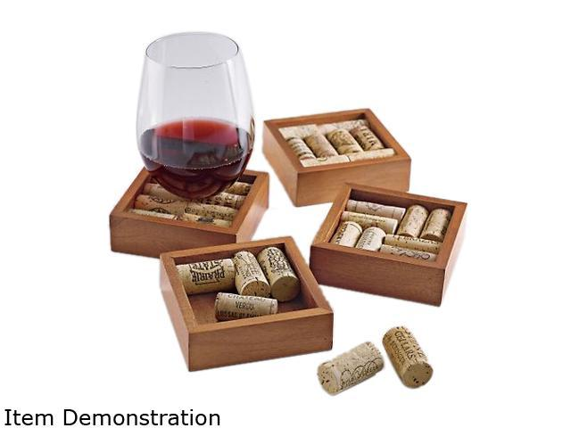 Wine Enthusiast 551 22 Wine Cork Coasters Kit (Set of 4)