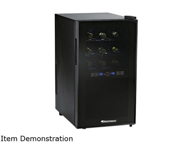 Wine Enthusiast 272 03 18 18-Bottle Dual-Temperature Touchscreen Wine Refrigerator Black