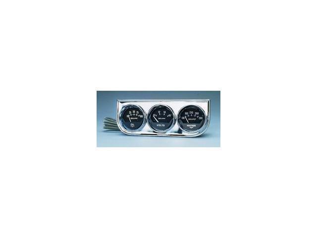 Auto Meter Autogage Black Oil/Water/Volt Chrome Console