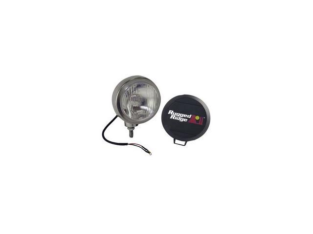 Rugged Ridge 15206.02 5-Inch Round HID Off Road Fog Light, Stainless Steel Housing