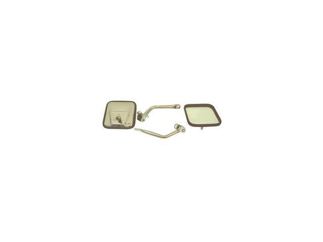 Rugged Ridge 110050.07 CJ-Style Side Mirror Kit, Stainless Steel, 97-06 Jeep Wrangler TJ