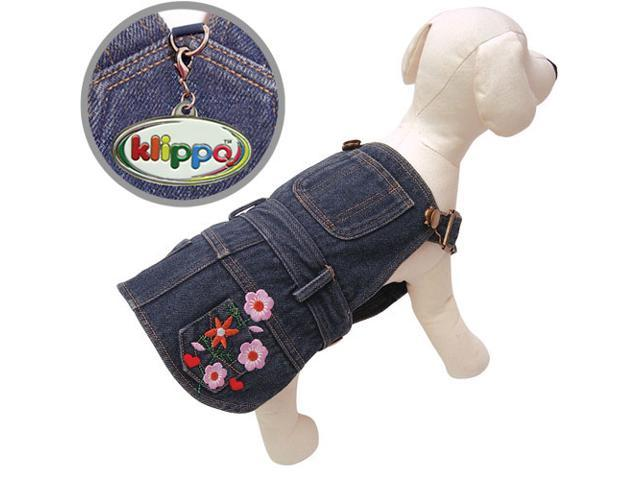 Cute Denim Dog Dress with Embroidered Flowers & Pockets - XL