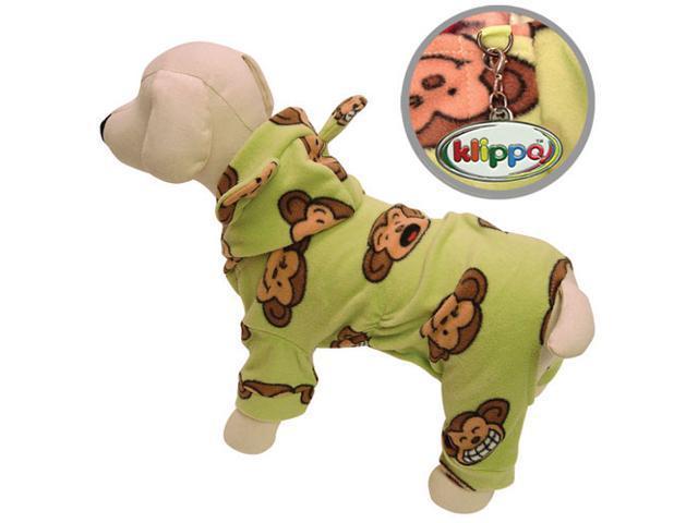 Adorable Silly Monkey Fleece Dog Pajamas/Bodysuit with Hood - Lime - M