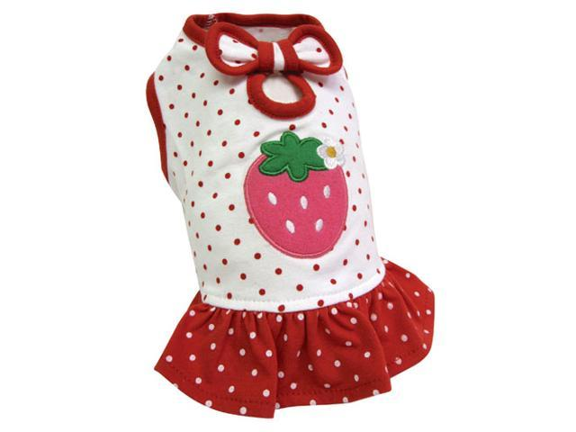 Adorable & Lightweight Dog Dress with Polka Dots and a Strawberry Patch - L