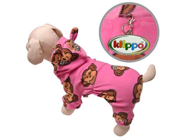 Adorable Silly Monkey Fleece Dog Pajamas/Bodysuit with Hood - Pink - L
