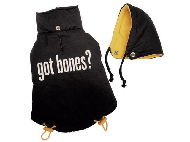 """Got Bones"" Thick & Warm Dog Coat with Detachable Hood - M"