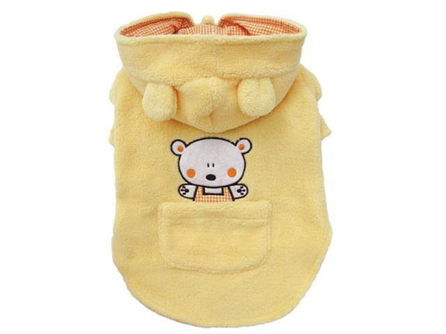 Adorable Plush Dog Hooded Coat with Country Bear and Pocket - M