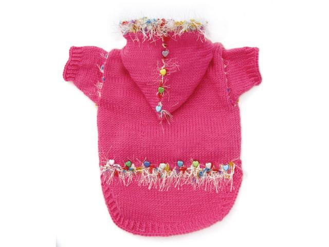 Adorable Hand Knitted Dog Hooded Sweater with Heart-Shaped Beads and Sparkling Trims - L