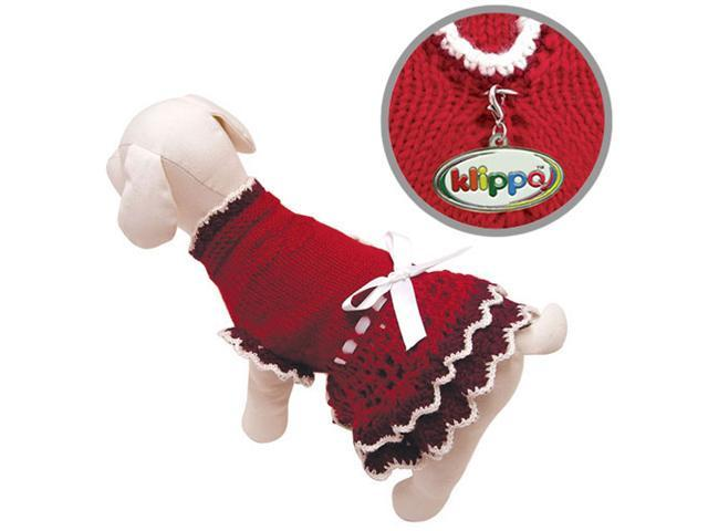 Glamourous Hand Knitted Dog Layered Dress with White Ribbon - M