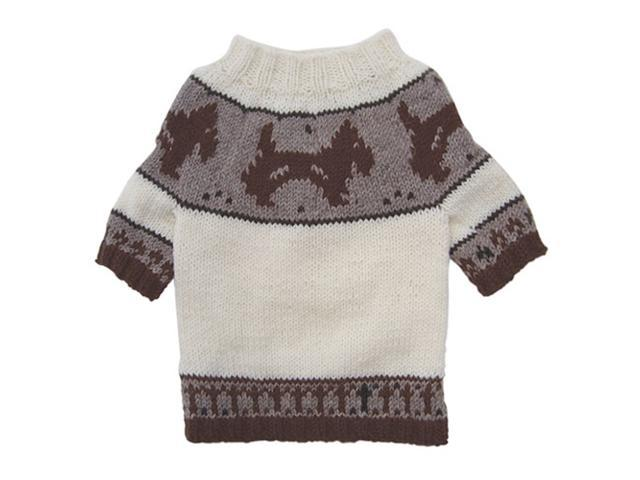 Hand Knitted Dog Sweater with Brown Doggies and Pattern Desgin - XS