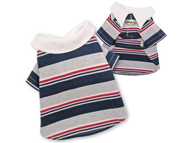 Adorable Multi-Colors Striped Polo Shirt for Dogs - L