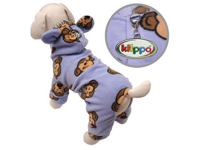 Adorable Silly Monkey Fleece Dog Pajamas/Bodysuit with Hood - Lavender - L