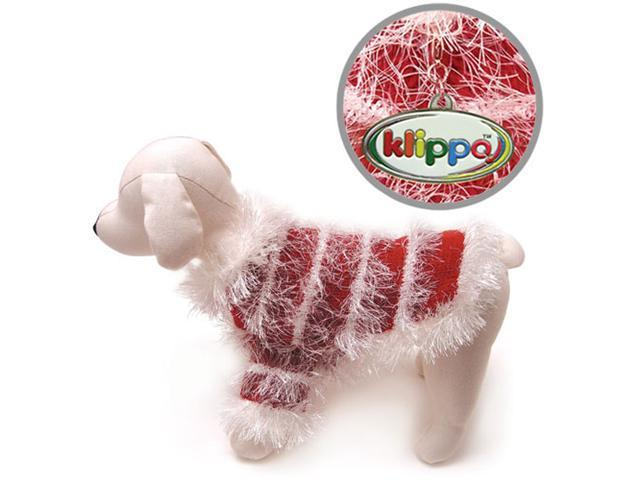 Beautiful Hand Knitted Dog Sweater with White Sparkling Furry Trims - M