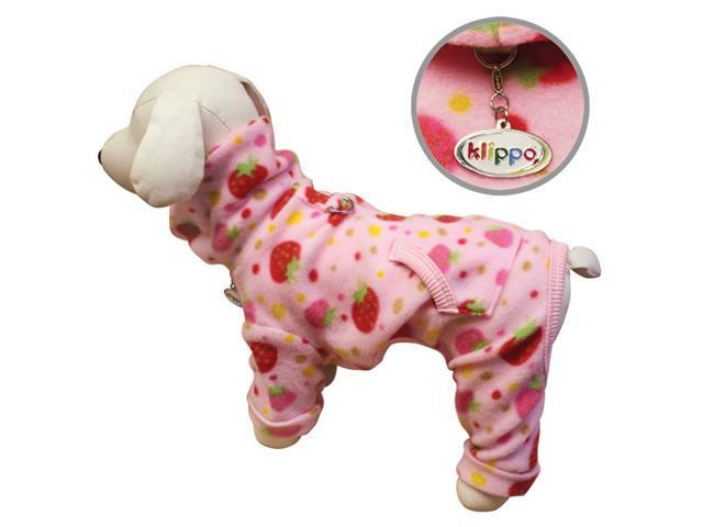 Yummy Strawberries Fleece Turtleneck Dog Pajamas/Bodysuit - XS