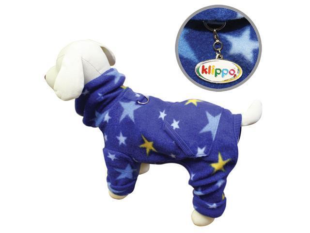 Cozy Midnight Stars Fleece Turtleneck Dog Pajamas/Bodysuit - L