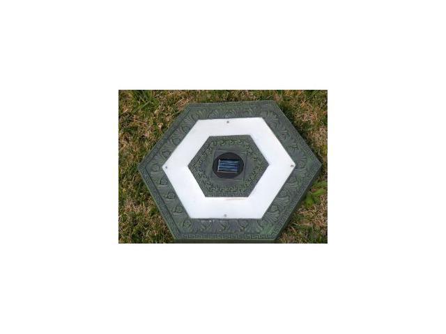 Homebrite Polyresin Garden Landscape Solar Lighted Stepping Stones, 30842, Hexagon, Set of 3, Green
