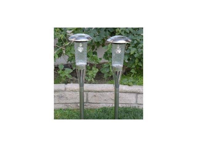 Homebrite Stainless Steel Solar Garden Tiki Lamps, Model 30810, Sold in Set of 2 Lights
