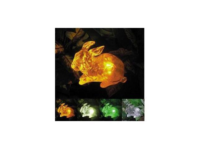 Polyresin Outdoor Garden Landscape Solar Light Color Changing LED Rabbit