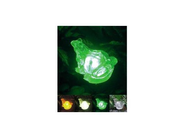 Homebrite Polyresin Outdoor Garden Landscape Solar Light Color Changing LED Frog