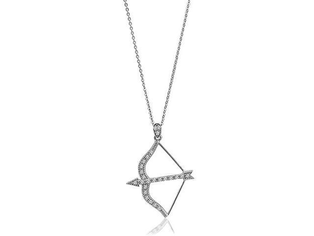 Bow and Arrow Archery Sterling Silver Pendant Necklace