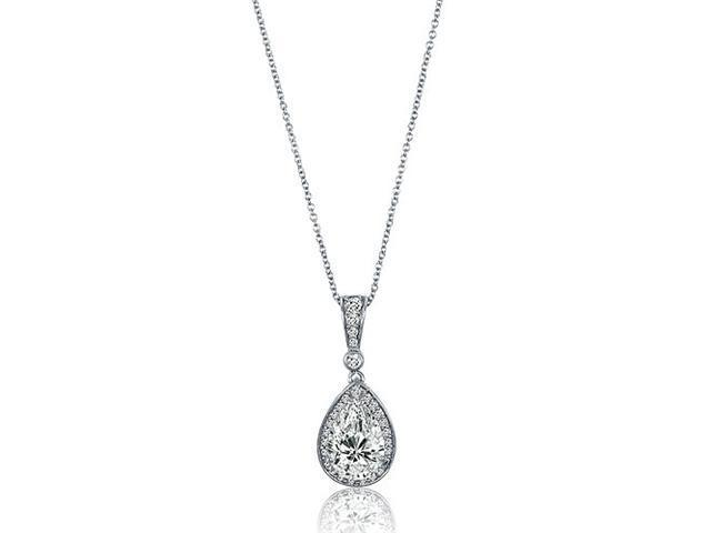 Sterling Silver Pear Cubic Zirconia CZ Drop Pendant w/ Chain Necklace